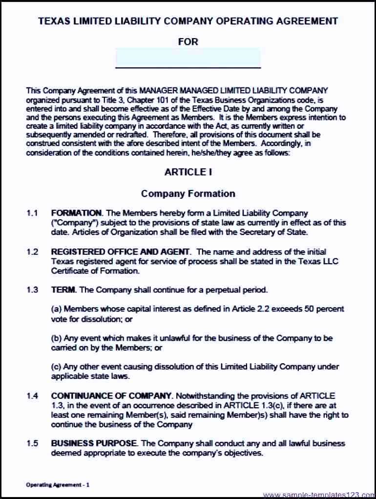 Texas Llc Operating Agreement Template