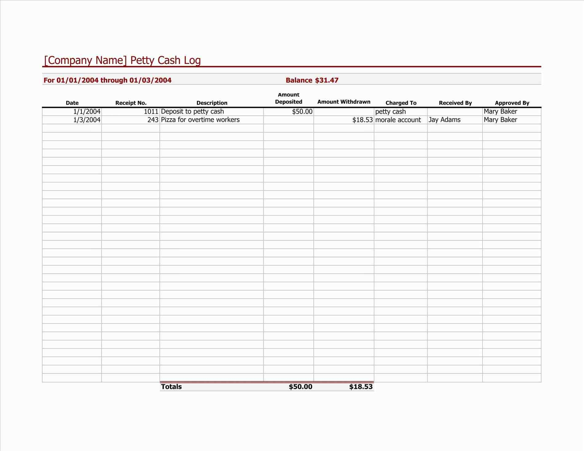 deposit record template - sample templates