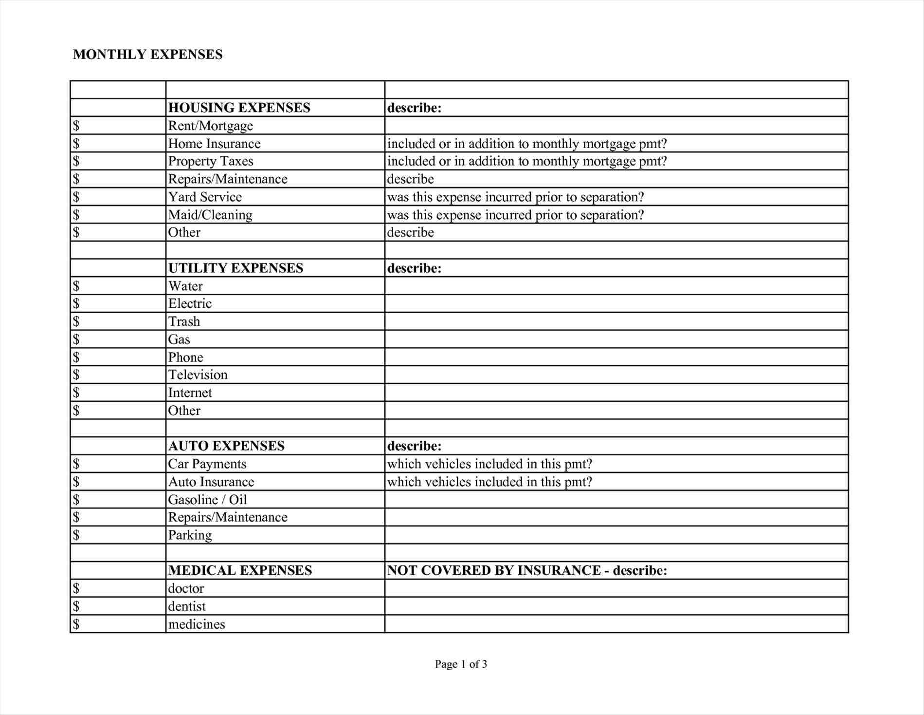 monthly expense report template sample templates sample templates