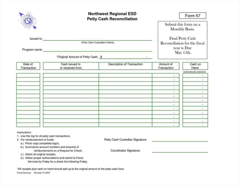 cash reconciliation sheet template - sample templates