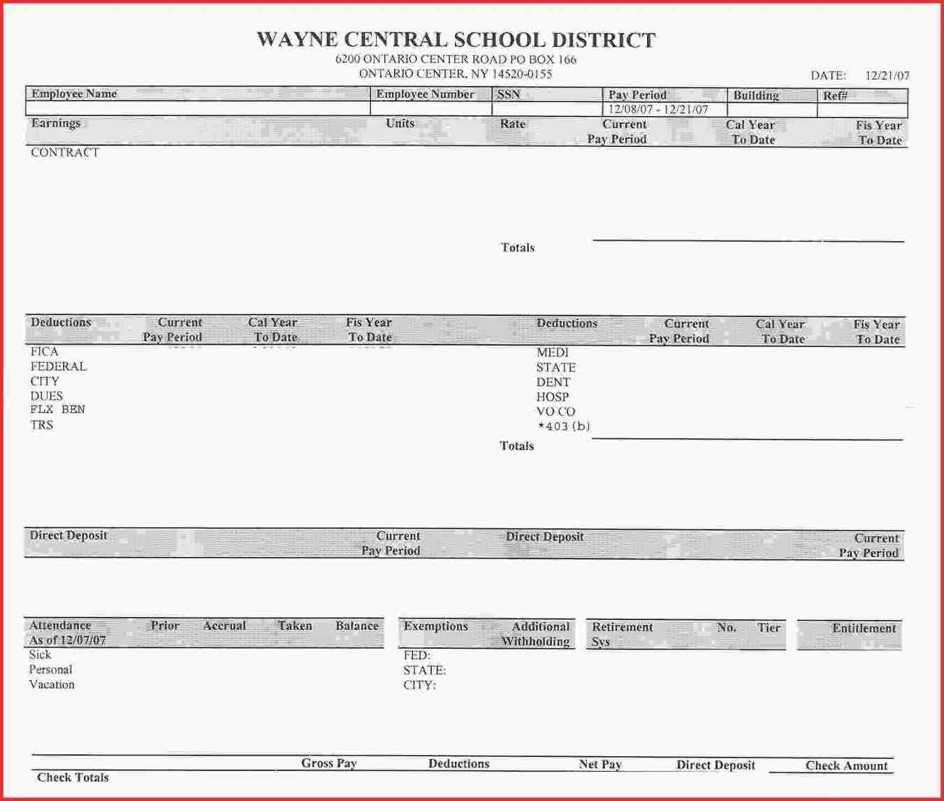Employee Pay Stub Template Sample Templates Sample Templates - Employee paycheck stub template