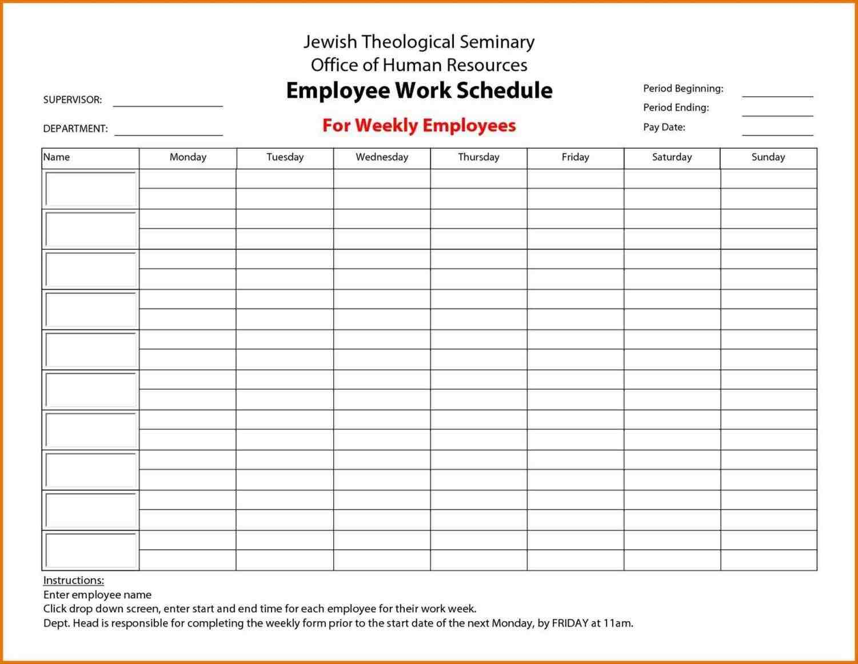 sample work schedule form