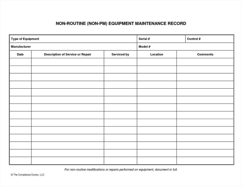 Equipment Maintenance List - Sample Templates - Sample ...
