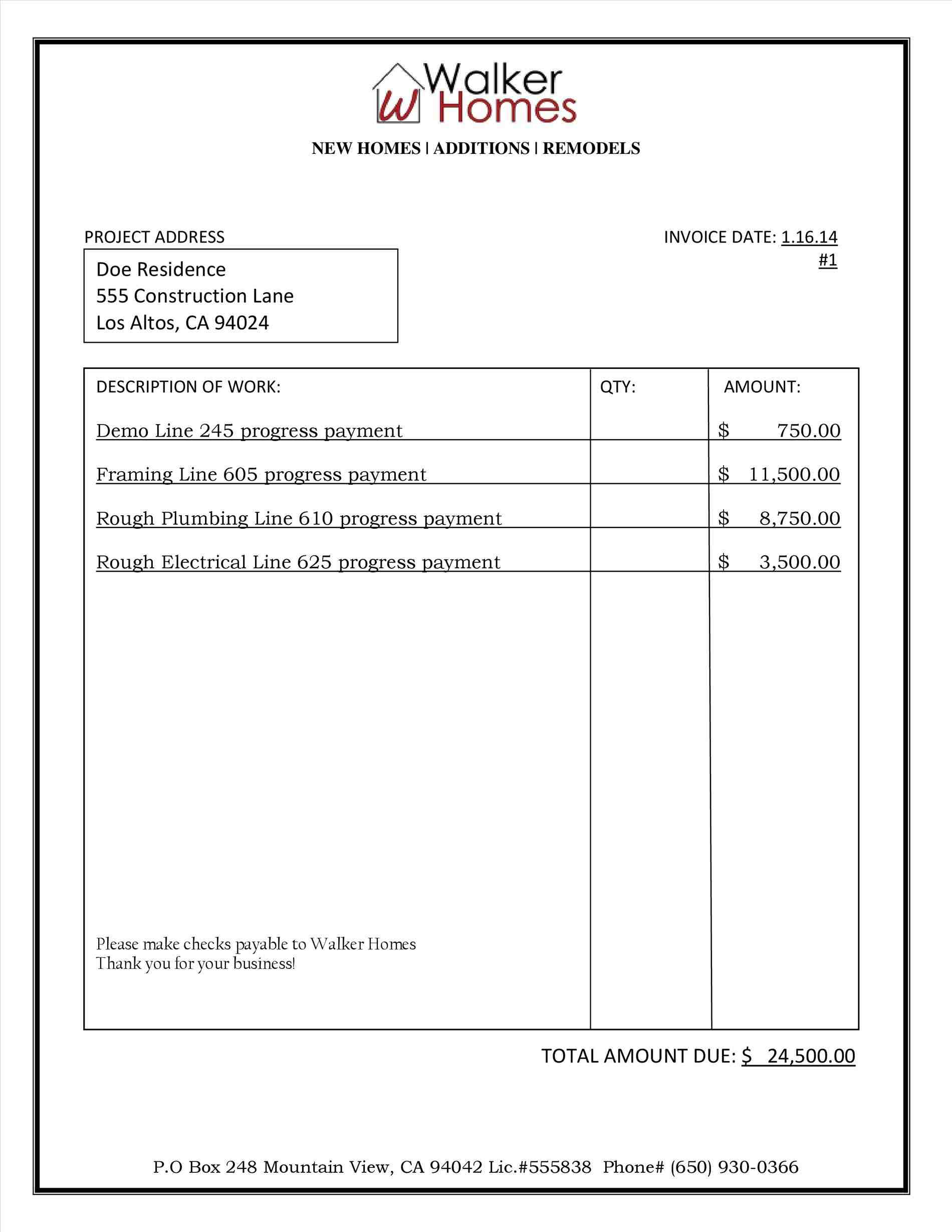 Free Construction Invoice Template Excel PDF Word Doc Pharmacy - Invoice format for construction company