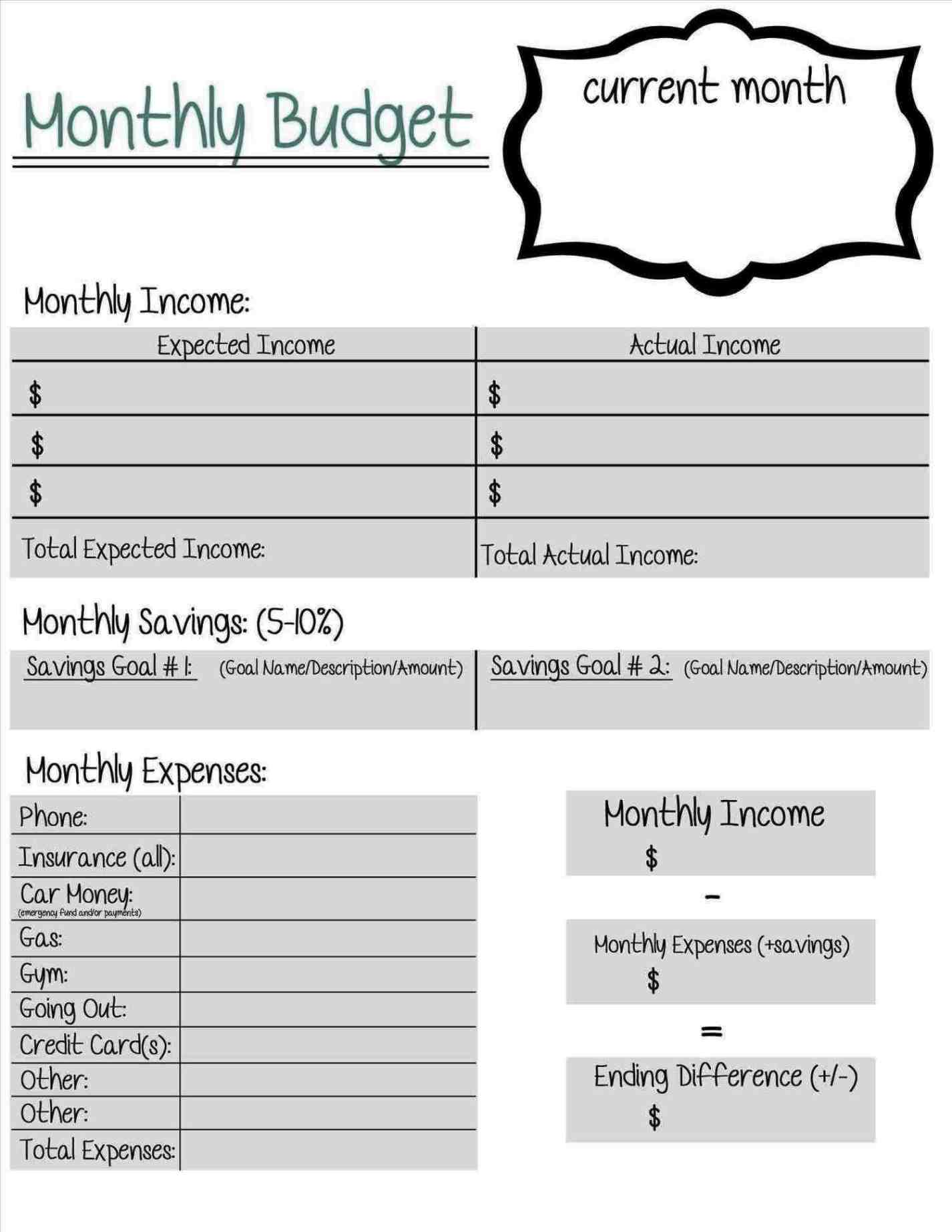 monthly college expense calculator worksheet sample templates