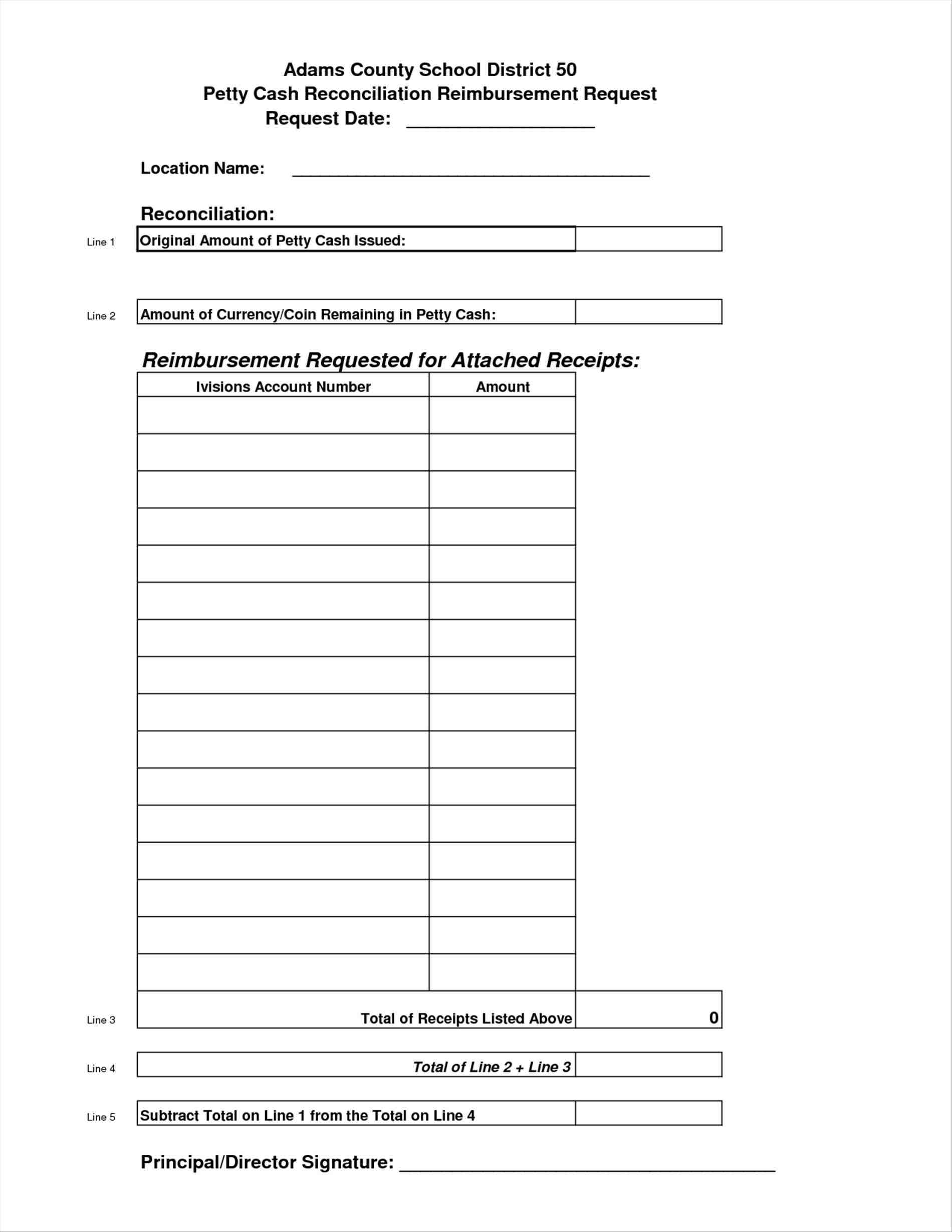 petty cash reconciliation sheet