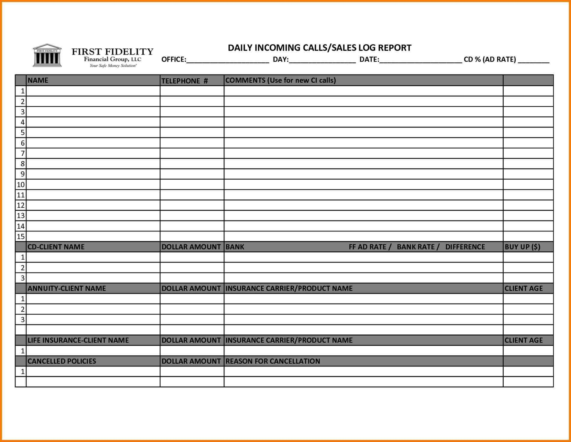 Call Report Template Excel Visit Report Format Templates Cool Weekly Sales  Call Rhgayconet Reports Free High