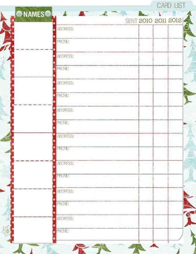 5 Free Christmas Card List Templates card list organizer alannoscrapleftbehindcorhalannoscrapleftbehindco template cio resumedrhcioresumedcom christmas Top 5 Free Christmas Card List