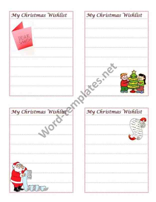 printable in addition to things that the rhpinterestcom free Top 5 Free Christmas Card List Templates christmas wish list printable