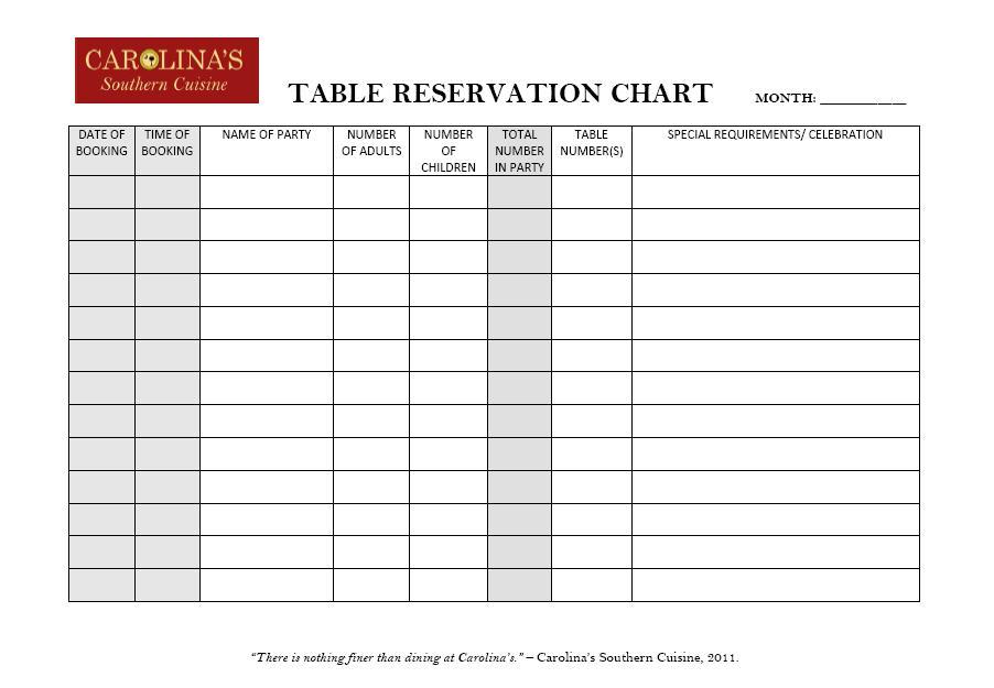 Restaurant Reservation Chart Vanessa J Thompson Illustration Design